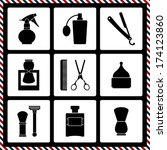 barber's tools icon collection  | Shutterstock .eps vector #174123860