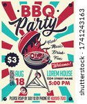 bbq party vintage poster.... | Shutterstock .eps vector #1741243163