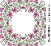 decorative floral frame. vector ... | Shutterstock .eps vector #1741272170