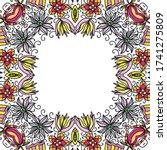 decorative floral frame. vector ... | Shutterstock .eps vector #1741275809