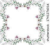 decorative floral frame. vector ... | Shutterstock .eps vector #1741276016