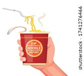 hand holding noodle instant cup ... | Shutterstock .eps vector #1741276466