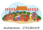 organic food farm market vector ... | Shutterstock .eps vector #1741281419