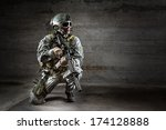Soldier With Mask Rifle And...