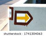 Closeup Of Yellow Arrow  Czech...