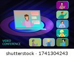 illustrations video conference  ... | Shutterstock .eps vector #1741304243