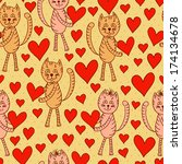 cute cats with hearts seamless... | Shutterstock .eps vector #174134678
