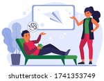 couple discussing paper plane... | Shutterstock .eps vector #1741353749