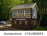 Small photo of 27/07/14 HEBDEN BRIDGE. The station signal box, grade 2 listed and dating from 1891 and one of a few L&YR signal boxes remaining that are largely unaltered.