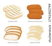 set of food chicken sliced... | Shutterstock .eps vector #1741402799