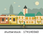 woman on bicycle in cape town... | Shutterstock . vector #174140360