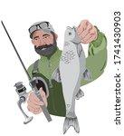 happy bearded fisherman holding ... | Shutterstock .eps vector #1741430903