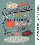 vintage valentine's day poster  | Shutterstock .eps vector #174144380