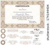 gold horizontal certificate... | Shutterstock .eps vector #174144404