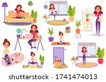 big set of  cartoon... | Shutterstock . vector #1741474013