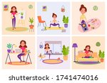 stay at home concept. cute... | Shutterstock . vector #1741474016