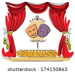 theater stage with red curtain... | Shutterstock .eps vector #174150863