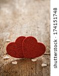 heart shapes on wooden background  - stock photo