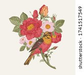 bird and roses. decorative... | Shutterstock .eps vector #1741517549