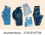 blue denim shorts  trousers and ... | Shutterstock .eps vector #1741519736