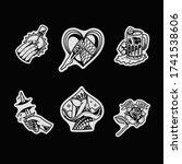 jp tattoo flash set ... | Shutterstock .eps vector #1741538606
