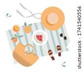 summer picnic on the beach.... | Shutterstock .eps vector #1741540556