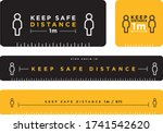 keep safe distance signage icon | Shutterstock .eps vector #1741542620