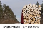 Wooden Logs In Pile. Firewood...