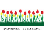 flowerbed with red and yellow... | Shutterstock .eps vector #1741562243