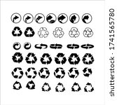 recycle icon set black on white ... | Shutterstock .eps vector #1741565780