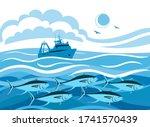 fishing vessel  fish tuna  sea... | Shutterstock .eps vector #1741570439