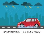red car on the street in rainy... | Shutterstock .eps vector #1741597529
