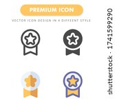 medal icon pack isolated on...