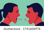 man and woman yell at each other | Shutterstock .eps vector #1741606976