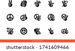 peace sign hand with fingers... | Shutterstock .eps vector #1741609466
