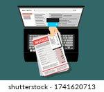online digital invoice laptop...   Shutterstock .eps vector #1741620713