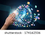 hand presenting against clock...   Shutterstock . vector #174162536