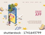 online mobile app banner or... | Shutterstock .eps vector #1741645799