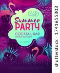 colorful summer disco party... | Shutterstock .eps vector #1741655303
