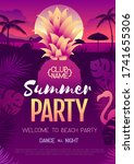 colorful summer disco party... | Shutterstock .eps vector #1741655306