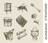 hand drawn sketch beekeeping... | Shutterstock .eps vector #1741655600