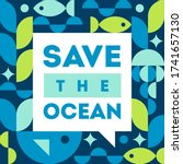 save the ocean. vector... | Shutterstock .eps vector #1741657130