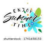 summer lettering with flowers.... | Shutterstock .eps vector #1741658153