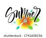 summer lettering with flowers.... | Shutterstock .eps vector #1741658156