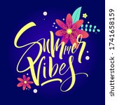 summer lettering with flowers.... | Shutterstock .eps vector #1741658159