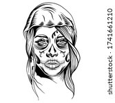 mystical calavera woman cut out ... | Shutterstock .eps vector #1741661210