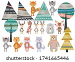 cute scandinavian style animals ... | Shutterstock .eps vector #1741665446