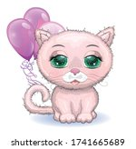 cute cartoon pink cat  a kitten ... | Shutterstock .eps vector #1741665689