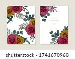 floral set with red and yellow... | Shutterstock .eps vector #1741670960