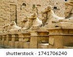 Sphinxes Statues In The Karnak...